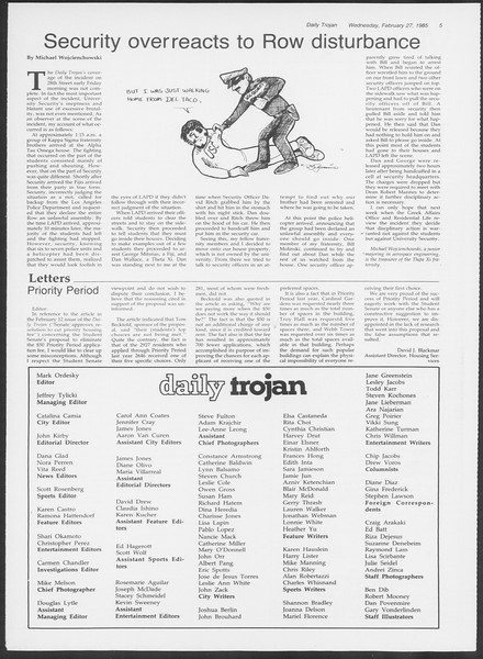 Daily Trojan, Vol. 98, No. 32, February 27, 1985