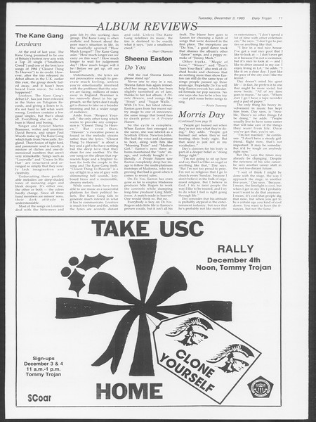Daily Trojan, Vol. 100, No. 59, December 03, 1985