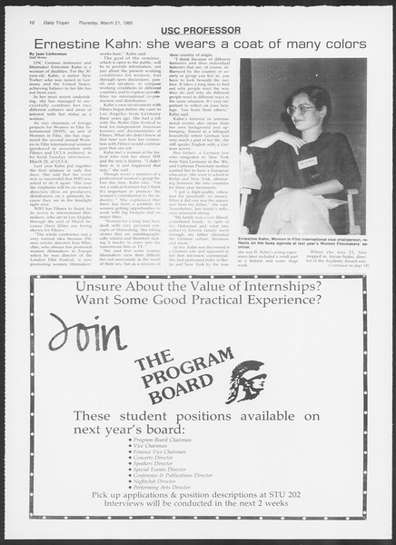 Daily Trojan, Vol. 98, No. 48, March 21, 1985