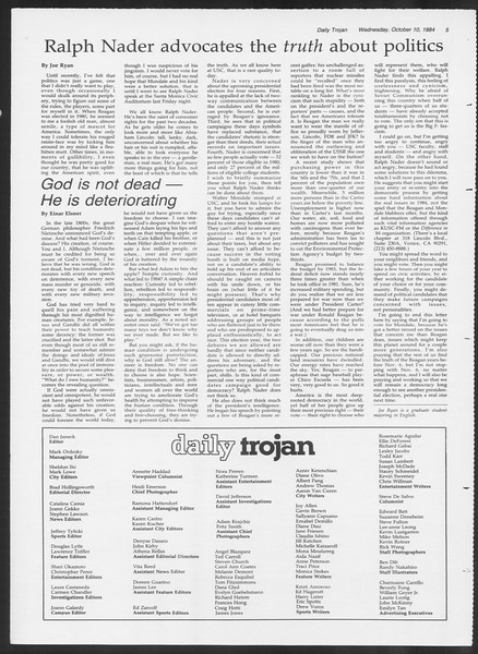 Daily Trojan, Vol. 97, No. 27, October 10, 1984