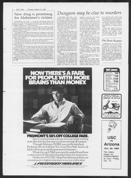 Daily Trojan, Vol. 97, No. 33, October 18, 1984