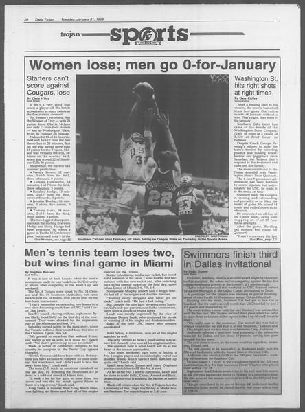 Daily Trojan, Vol. 108, No. 13, January 31, 1989