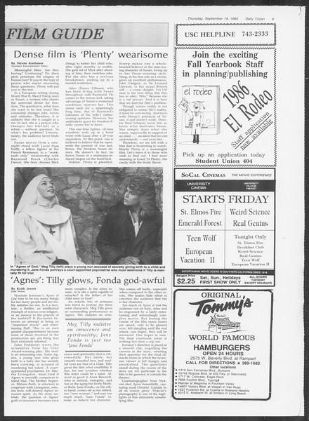 Daily Trojan, Vol. 100, No. 13, September 19, 1985