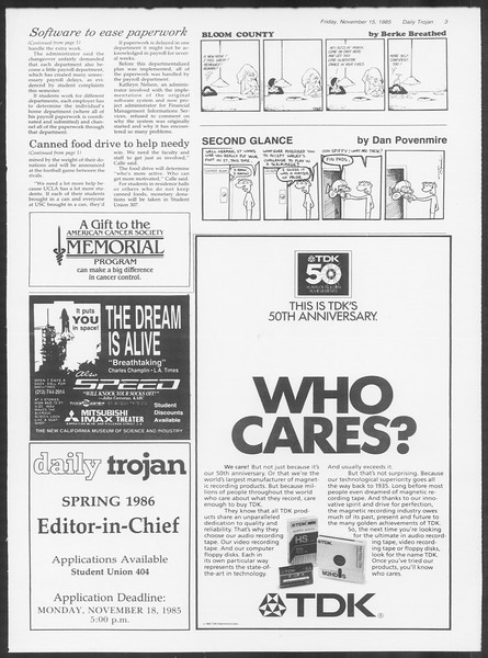 Daily Trojan, Vol. 100, No. 51, November 15, 1985