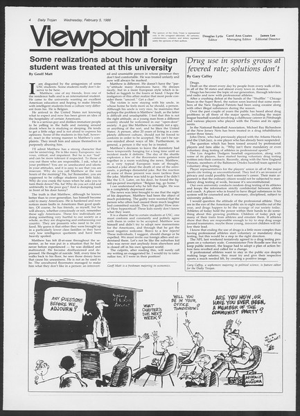 Daily Trojan, Vol. 100, No. 19, February 05, 1986