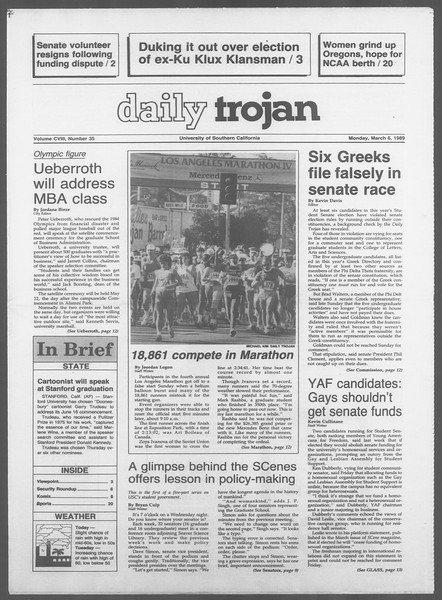 Daily Trojan, Vol. 108, No. 35, March 06, 1989