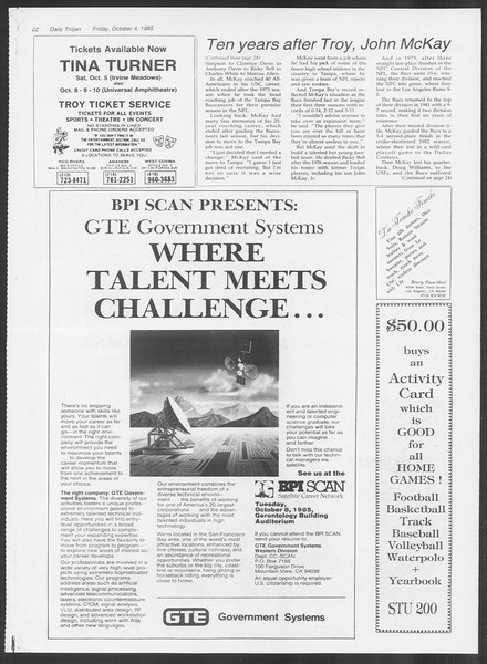 Daily Trojan, Vol. 100, No. 24, October 04, 1985