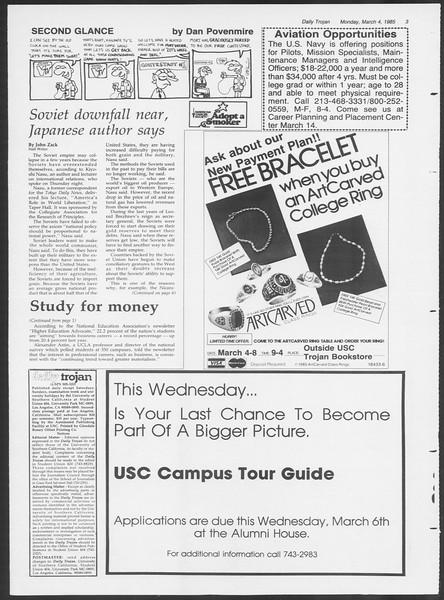 Daily Trojan, Vol. 98, No. 35, March 04, 1985