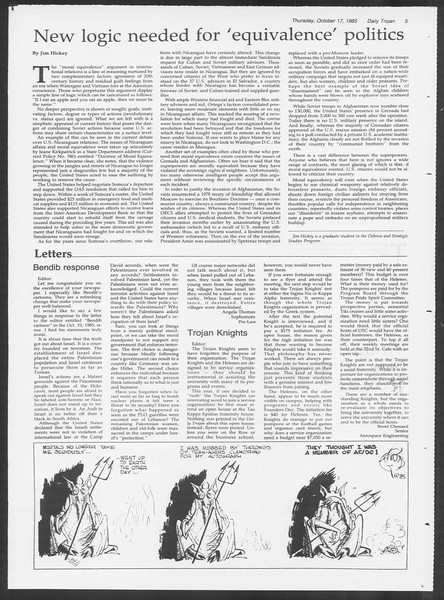 Daily Trojan, Vol. 100, No. 33, October 17, 1985