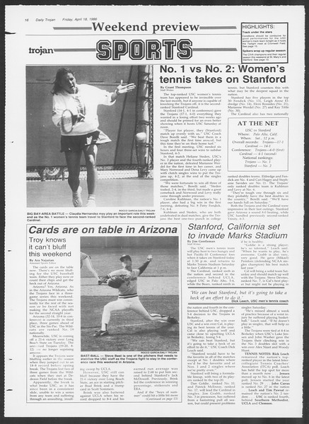 Daily Trojan, Vol. 100, No. 63, April 18, 1986