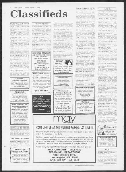 Daily Trojan, Vol. 100, No. 49, March 21, 1986
