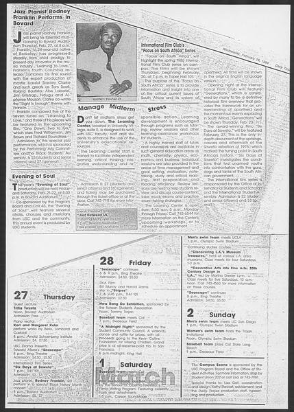 Daily Trojan, Vol. 100, No. 27, February 19, 1986