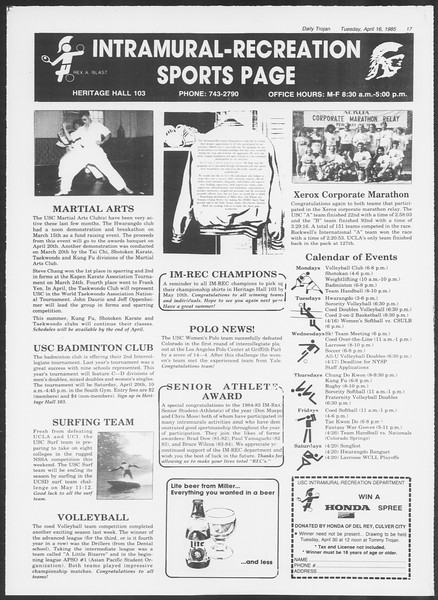Daily Trojan, Vol. 98, No. 60, April 16, 1985