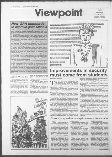 Daily Trojan, Vol. 108, No. 21, February 10, 1989