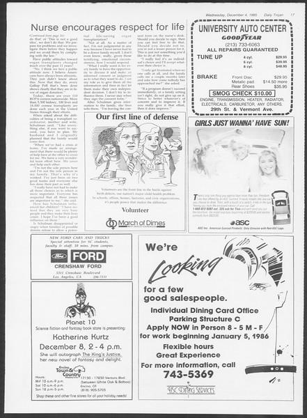 Daily Trojan, Vol. 100, No. 60, December 04, 1985