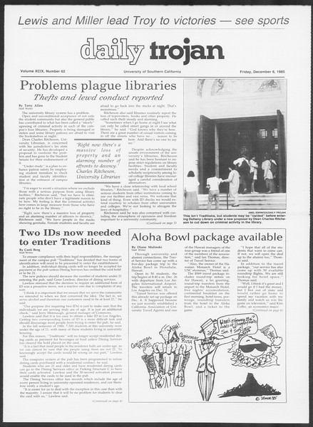 Daily Trojan, Vol. 100, No. 62, December 06, 1985