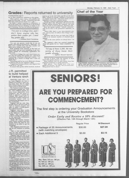 Daily Trojan, Vol. 108, No. 22, February 13, 1989