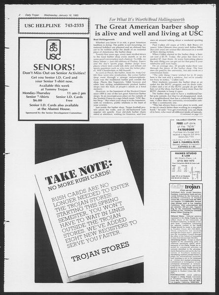 Daily Trojan, Vol. 98, No. 4, January 16, 1985
