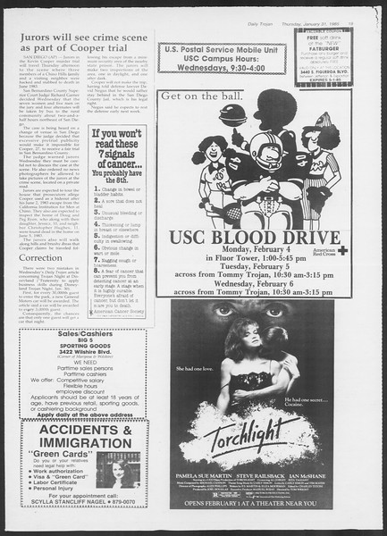 Daily Trojan, Vol. 98, No. 15, January 31, 1985