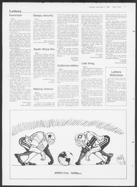 Daily Trojan, Vol. 100, No. 46, November 05, 1985