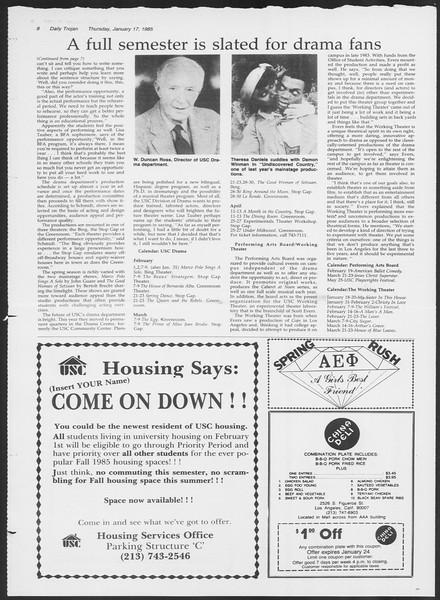 Daily Trojan, Vol. 98, No. 5, January 17, 1985
