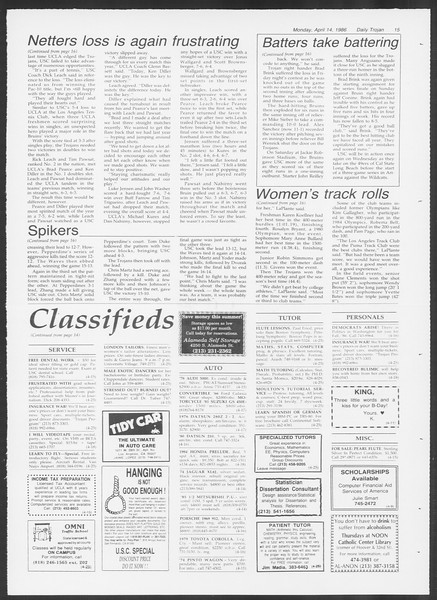 Daily Trojan, Vol. 100, No. 59, April 14, 1986