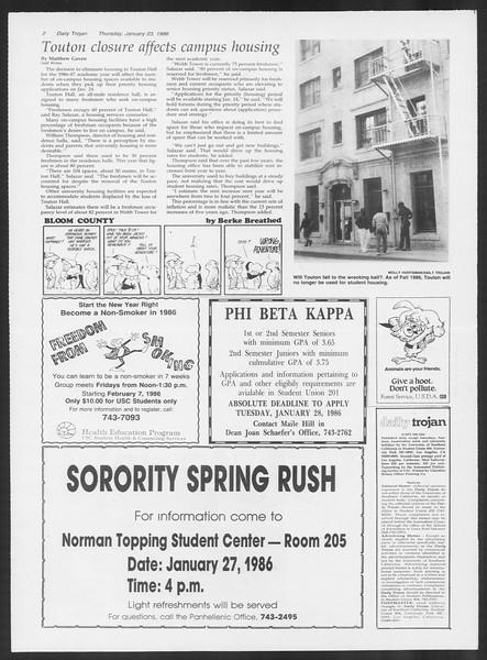 Daily Trojan, Vol. 100, No. 10, January 23, 1986