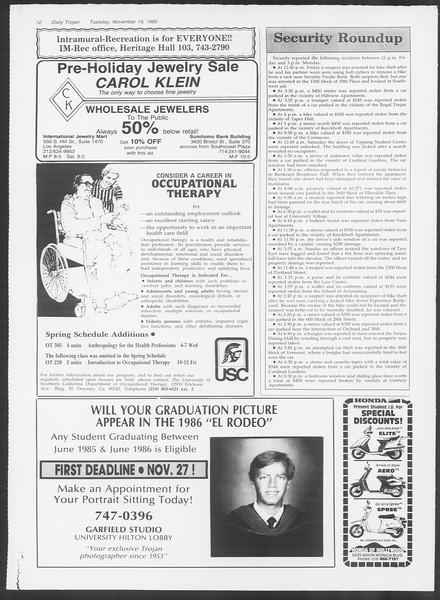 Daily Trojan, Vol. 100, No. 53, November 19, 1985