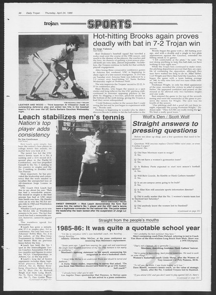 Daily Trojan, Vol. 100, No. 67, April 24, 1986