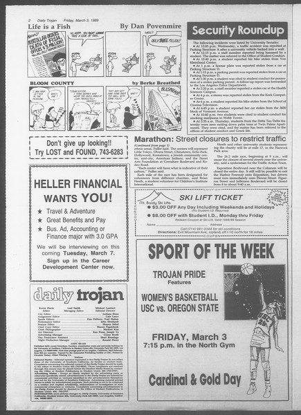 Daily Trojan, Vol. 108, No. 34, March 03, 1989