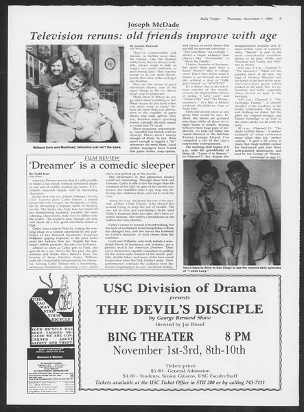 Daily Trojan, Vol. 97, No. 43, November 01, 1984