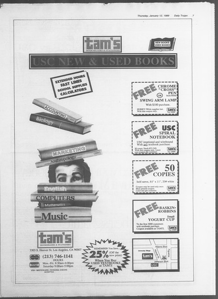 Daily Trojan, Vol. 108, No. 2, January 12, 1989