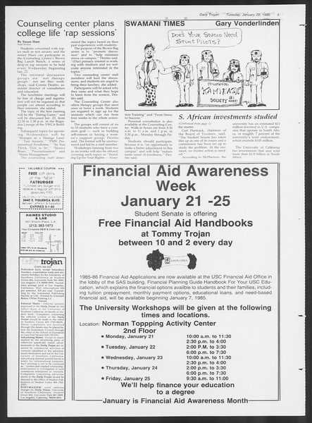 Daily Trojan, Vol. 98, No. 8, January 22, 1985
