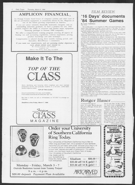 Daily Trojan, Vol. 100, No. 38, March 06, 1986