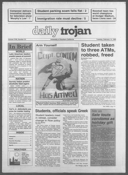 Daily Trojan, Vol. 108, No. 23, February 14, 1989