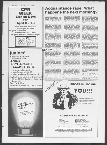 Daily Trojan, Vol. 95, No. 55, April 05, 1984
