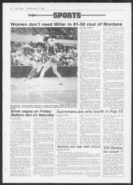 Daily Trojan, Vol. 100, No. 45, March 17, 1986