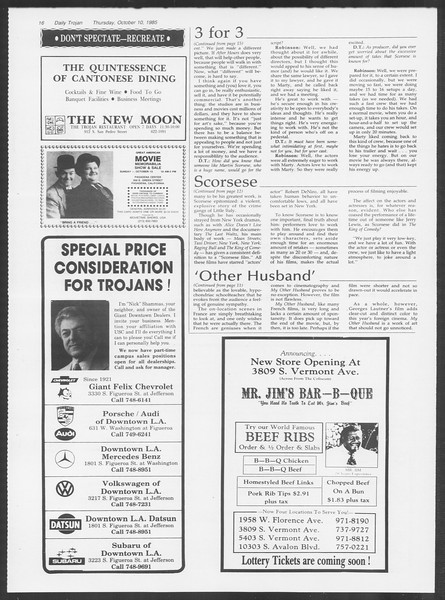 Daily Trojan, Vol. 100, No. 28, October 10, 1985