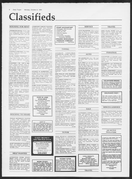 Daily Trojan, Vol. 97, No. 25, October 08, 1984