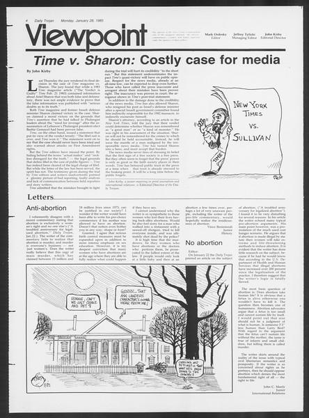 Daily Trojan, Vol. 98, No. 12, January 28, 1985