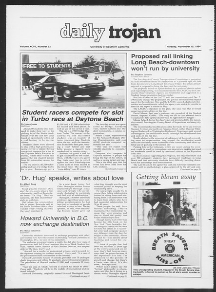 Daily Trojan, Vol. 97, No. 52, November 15, 1984