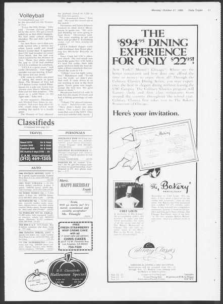 Daily Trojan, Vol. 100, No. 35, October 21, 1985