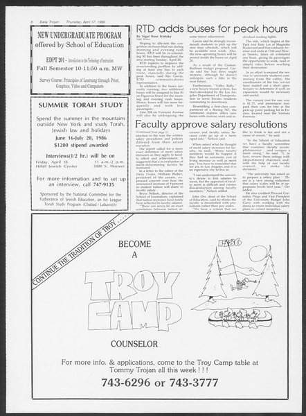 Daily Trojan, Vol. 100, No. 62, April 17, 1986