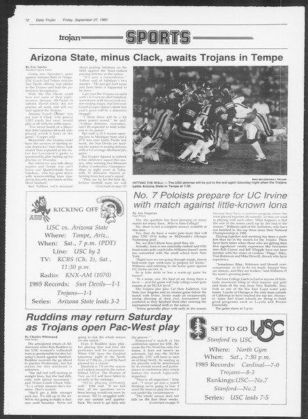 Daily Trojan, Vol. 100, No. 19, September 27, 1985