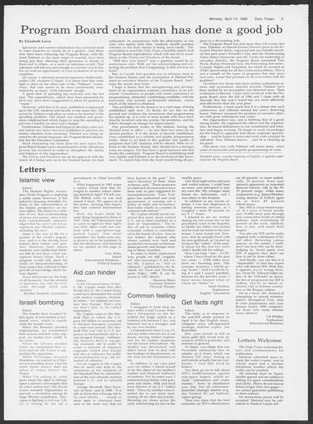 Daily Trojan, Vol. 100, No. 59, April 14, 1986