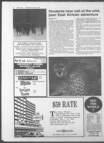 Daily Trojan, Vol. 108, No. 61, April 19, 1989
