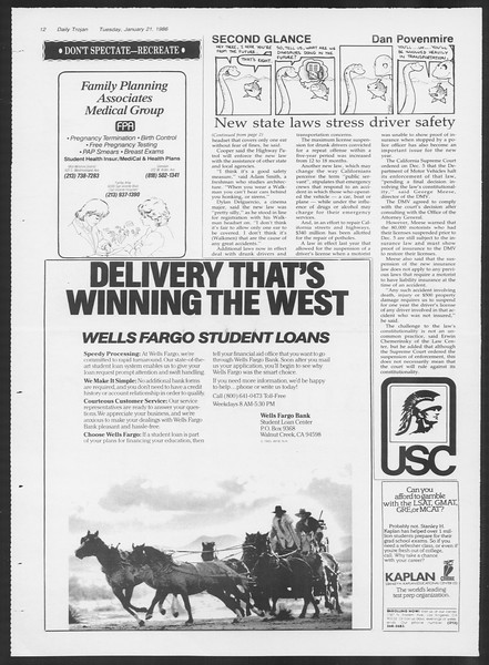 Daily Trojan, Vol. 100, No. 8, January 21, 1986
