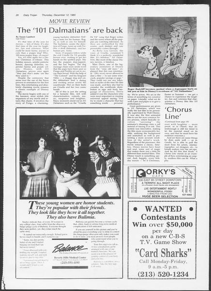 Daily Trojan, Vol. 100, No. 66, December 12, 1985