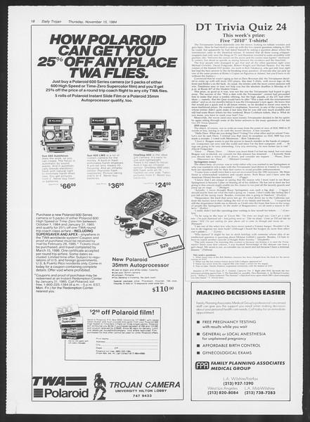 Daily Trojan, Vol. 97, No. 52, November 15, 1984