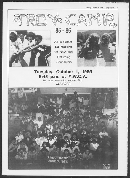 Daily Trojan, Vol. 100, No. 21, October 01, 1985